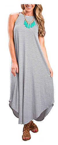 ETCYY Women's Summer Casual Stripe Sleeveless Loose Beach Maxi Dress