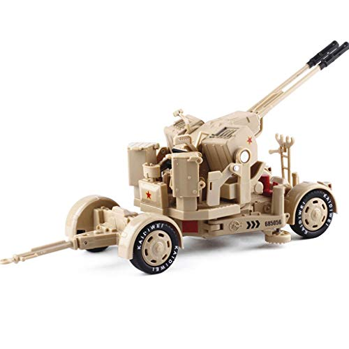 GYAN 1:35 Anti-Aircraft Gun Model Children's Toy Car Anti-Aircraft Gun Double-Barrel Machine Gun Military Model Alloy (Color : Yellow)