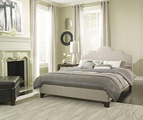 Boyd Sleep Julia Upholstered Platform Bed Frame with Arched Linen Headboard: Taupe, Full