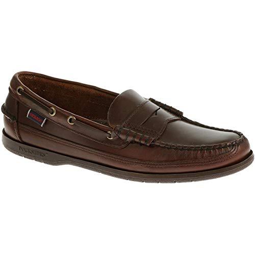 (Sebago Sloop Slip On Shoes 11 D(M) US Total Brown Brushed Leather)