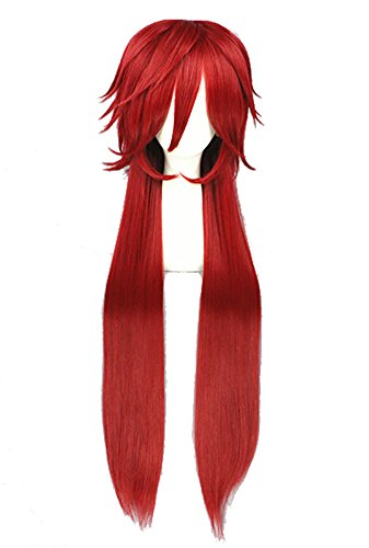 TOKYO-T Black Butler Cosplay Grell Sutcliff Long Red Wig Costume with Mesh cap