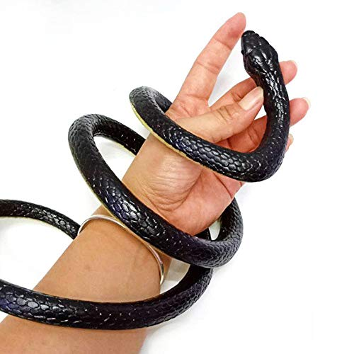 QICI 4 Pieces Realistic Rubber Snakes in 2 Sizes 52 Inch and 31.5 Inch Fake Snakes Snake Toys for Garden Props to Scare Birds, Squirrels, Mice, Pranks, Halloween Decoration]()