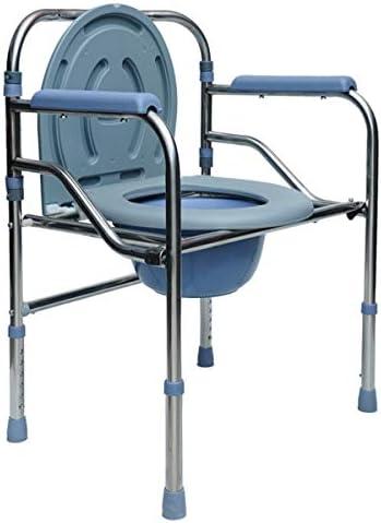 介護用ポータブルトイレ椅子 簡易便座 折畳可 背もたれ アームレスト付き 軽量 仮設トイレ 防災 介護用 ポータブルトイレ 福祉センター 多機能椅子 高さ調節可