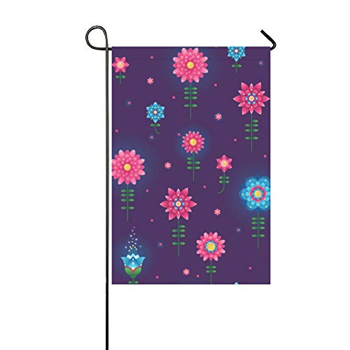 KUneh Home Decorative Outdoor Garden Flag Winter Double Sided Print Glowing Colored Stylish Fluorescent Garden Welcome Flag Garden Flags Winter 12x18 Inch Spring Summer Gift