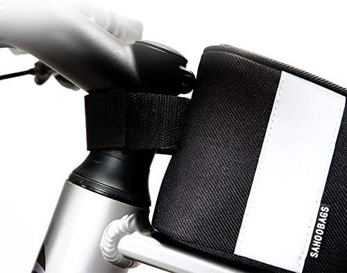 自転車バッグ 自転車トップチューブバッグ フレームバッグ 屋外MTBロードバイクのためのバイクバッグトップチューブバッグフロントチューブフレームバッグ 適用 旅行/アウトドア/スポーツ/遠足など (Color : Black, Size : 23*6.5*10.58cm)