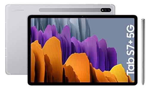 Samsung Galaxy Tab S7+ – Tablet de 12.4″ QHD (5G, Procesador Qualcomm Snapdragon 865 Plus, RAM de 6GB, Almacenamiento de 256 GB, Android 10, S Pen incluido) – Color Plata [Versión española]