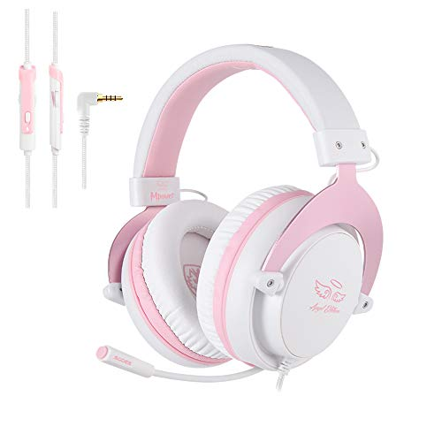 [Angel Edition] SADES MPOWER 3.5mm Gaming Headset, Over-Ear Headphones With Retractable Mic, Noise Cancelling, Soft…