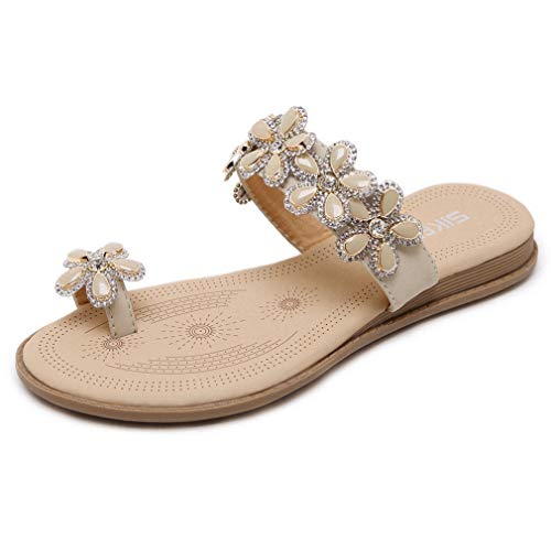 - CYBLING Women's Flower Rhinestones Toe Ring Summer Flat Slide Sandals Bohemian Slip on Flip Flops Apricot