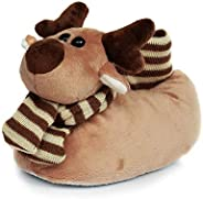 Onmygogo Fuzzy Winter Animal Christmas Moose Slippers for Toddler and Little Kids