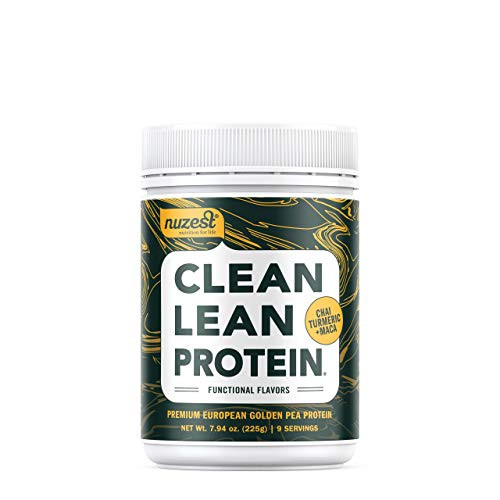 Nuzest Clean Lean Protein Functionals - Premium Vegan Protein Powder, European Golden Pea Protein, Dairy Free, Gluten Free, GMO Free, Naturally Sweetened, Chai Turmeric Maca, 9 SRV, 7.9 oz