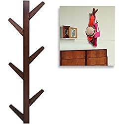 Modern Brown Bamboo Wall Mounted 6 Hook Hanging Storage Organizer, Entryway Coat & Hat Rack
