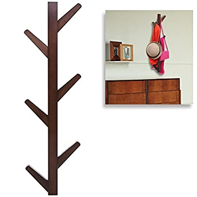 Modern Brown Bamboo Wall Mounted 6 Hook Hanging Storage Organizer, Entryway Coat & Hat Rack - A wall mounted hook rack made of bamboo with a dark brown finish. Features 6 sturdy hooks that can be used to hold hats, coats, handbags, towels, aprons, robes, and more. The bamboo mounting blocks on the back help hold the rack out and away from the wall to ensure easy access to the hooks, and each block features a bracket that can fit easily over the appropriate mounting hardware (not included). - entryway-furniture-decor, entryway-laundry-room, coat-racks - 41fR4gansHL. SS400  -