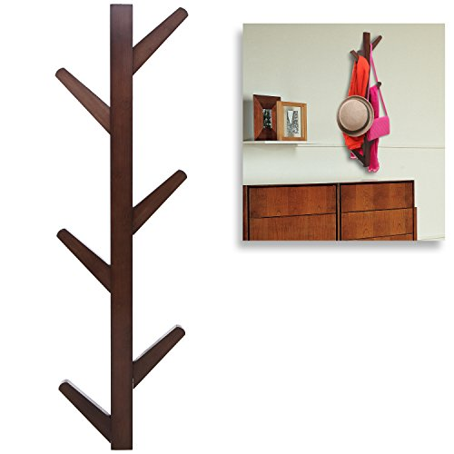 (Modern Brown Bamboo Wall Mounted 6 Hook Hanging Storage Organizer, Entryway Coat & Hat Rack)