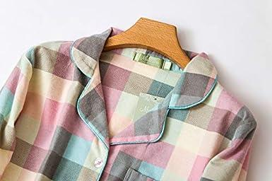 Misscoo Camicia da Notte in Cotone da Donna Camicia da Notte abbottonata a Manica Lunga Camicia da Notte in Flanella