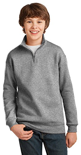 Jerzees Youth 8 oz., 50/50 NuBlend® Quarter-Zip Cadet Collar Sweatshirt (995Y)- OXFORD,L - Cadet Collar Oxford