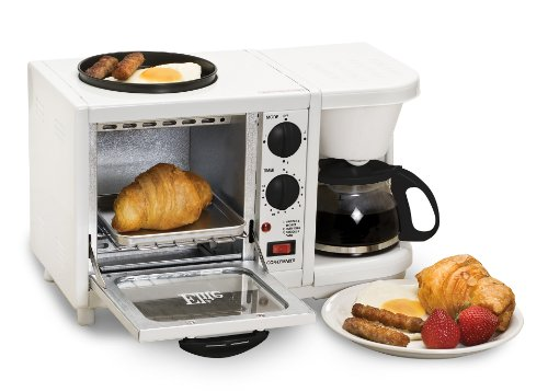 Elite Cuisine EBK-200 Maxi-Matic 3-in-1 Multifunction Breakfast Center, White (Red Toaster Oven Combo compare prices)