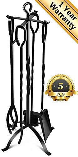 ComfyHome Fireplace Tools, 9.4 x 9.4 x 31.9 inches, Dark (Wrought Iron Fireplace)