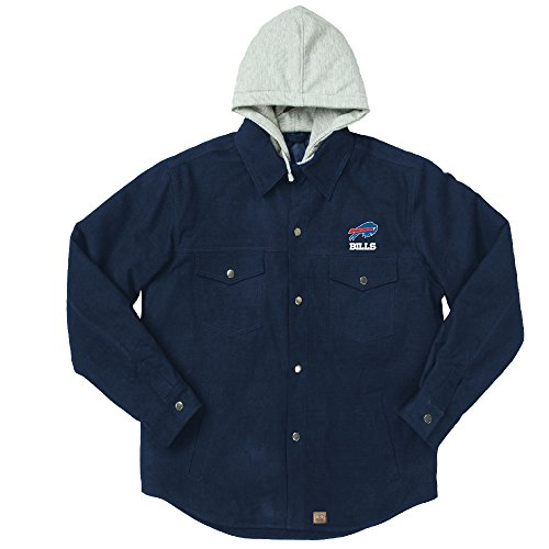 NFL Buffalo Bills Dukane Canvas Quilt Lined Jersey Hooded Jacket, Navy, Large