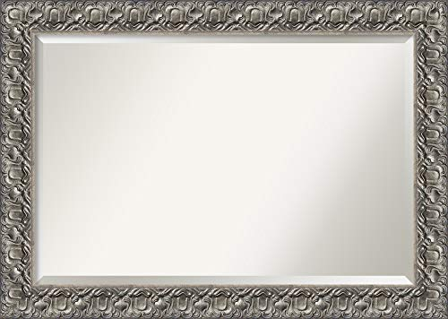Framed Vanity Mirror | Bathroom Mirrors for Wall | Silver Luxor Mirror Frame | Solid Wood Mirror | Large Mirror | 29.75 x 41.75
