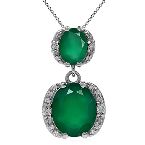 5.1ct Natural Oval Emerald Green Agate 925 Sterling Silver Classic Pendant w/ 18 Inch Chain Necklace