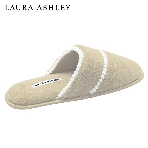 Terry Scuff Soft Ashley Trim Laura Ladies Pom Tan Slipper waqA6aXO