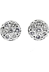 1.02 Ct White Gold Invisible Set Diamond Stud Earrings 14 Kt