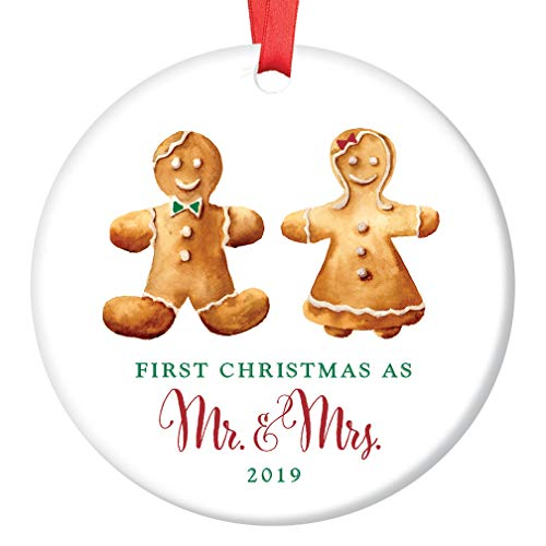 "First Christmas Mr & Mrs Ornament 2019 Cute Gingerbread Newlyweds Ceramic Keepsake Present 1st Holiday Married Ginger Bread Couple 3"" Flat Porcelain Collectible w Red Ribbon & Free Gift Box OR00109"