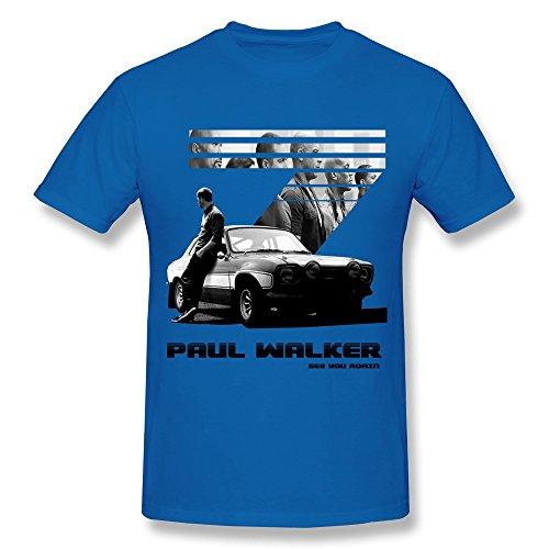 Man The Fast and The Furious 7 Paul Walker T-shirt XL RoyalBlue