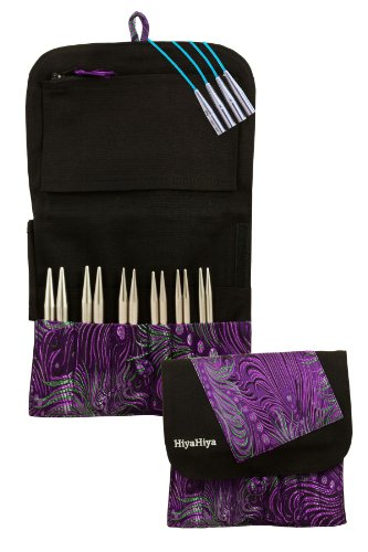 HiyaHiya Interchangeable 5-inch (13cm) Steel Knitting Needle Set; Large Tip Sizes (US 9-15) HISTINKIT5LG by HiyaHiya