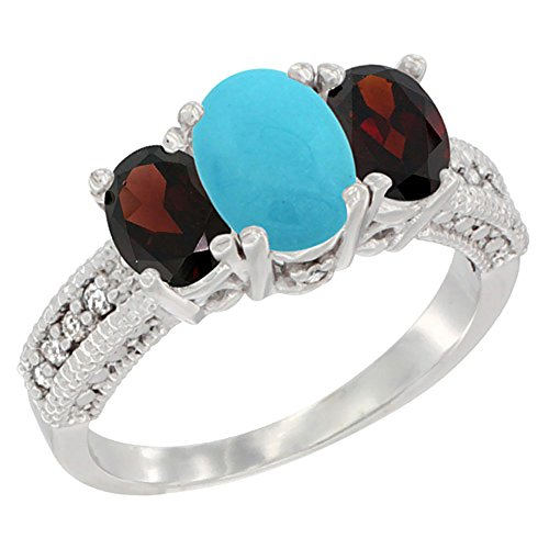 Gold 14k Natural Garnet Ring (14K White Gold Diamond Natural Turquoise Ring Oval 3-stone with Garnet, size 5)