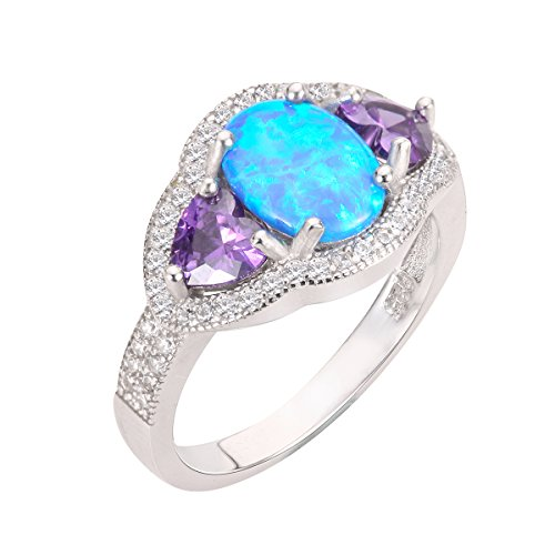 CloseoutWarehouse Blue Simulated Opal and Heart Simulated Amethyst Cubic Zirconia Ring Sterling Silver Size 10 by CloseoutWarehouse (Image #1)