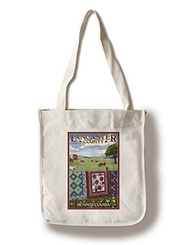 Lancaster County, Pennsylvania - View with Quilts on Fence (100% Cotton Tote Bag - - Lancaster Shopping Pennsylvania