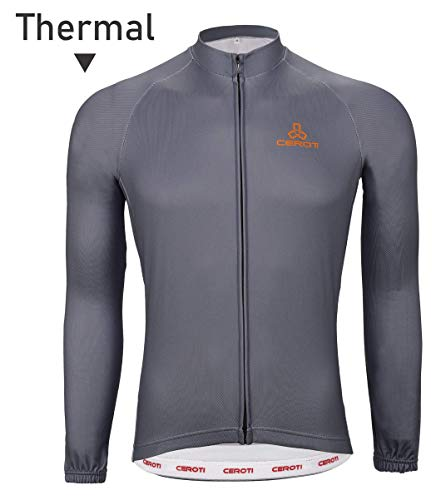 Ceroti | Custom Apparel Service | 【Basic Class】 Men's Thermal Cycling Jersey,Cycling Shirts, Cold Weather Long Sleeve Biking Jersey, Out Wear with 3 Rear Pockets, High Breathable & Fast Dry