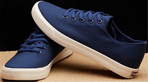 Satuki Toile Chaussures Pour Hommes, Décontracté Bas Top Classique Lace Up Athlétique Plat Plat Léger Sport Sneakers De Mode Bleu