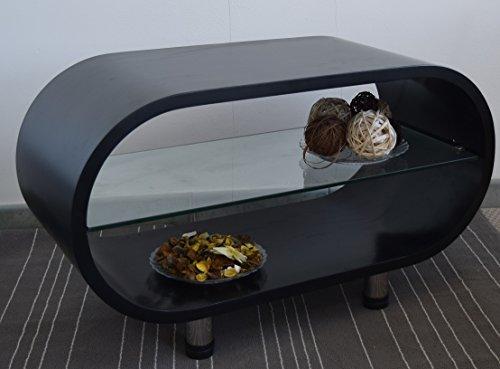 Ripiano In Vetro Per Tavolo.Rebecca Srl Tavolo Tavolino Ovale Ripiano Vetro Legno Nero Moderno
