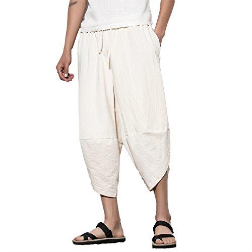 INVACHI Mens Casual Elastic Waist Linen Capri Wide Leg Baggy Harem Pants Trousers Ivory (Pant Trouser Ivory)