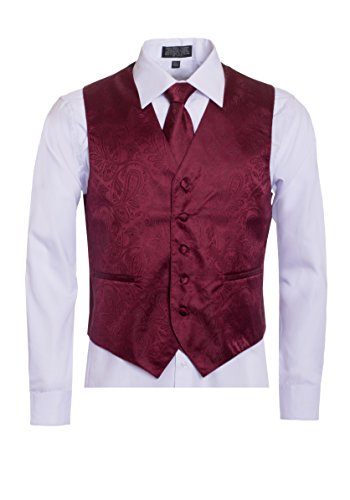 Men's Premium Paisley Vest Neck Tie Pocket Square Set Paisley Vest for Suits and Tuxedos-Many Colors (2XL, Burgundy/Maroon) by King Formal Wear