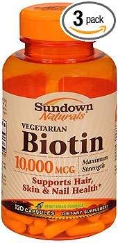 Sundown Naturals Biotin 10,000 mcg Capsules - 120 ct, Pack of 3