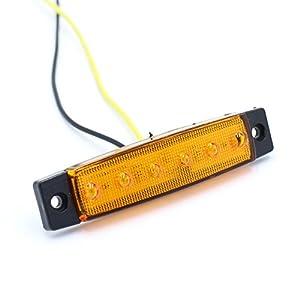 (Pack of 20) LEDVillage 20 Pcs 3.8 6 LED Amber Side Marker Lights, Amber Trailer Marker Lights, Rear Side Marker Lamp Amber, Led Marker Lights for Trucks, Cab Marker, RV Marker light Yellow