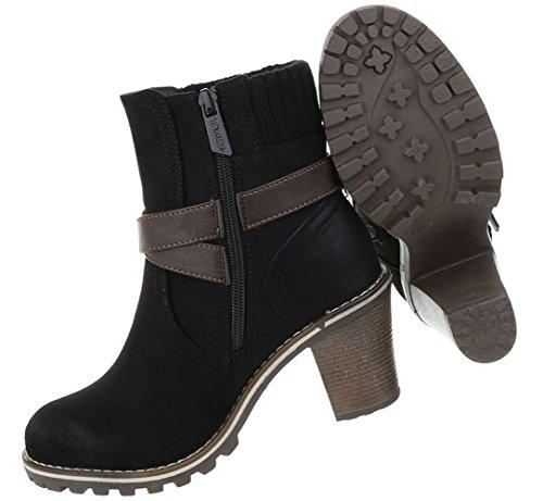 Optik Modell Schwarz Boots Schnür 3 Stiefeletten Used Nr Schuhe Damen vwqTASXq