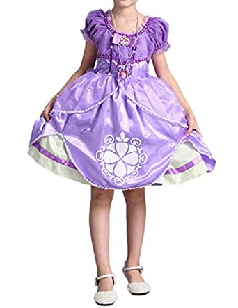 Quesera Girl's Princess Sofia Dress up Costume Ruffle Deluxe Holiday Fancy Dress, Purple, Tagsize 130cm=Ussize 51.18inches