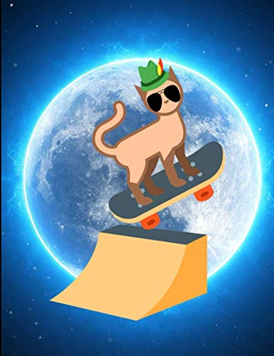 Cool Cat Skateboard Moon Jump Notebook Journal 150 Page College Ruled Pages 8.5 X - Skateboard Jump