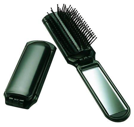 Ultra Folding Hair Brush with Mirror - Pop Up Hair Brush