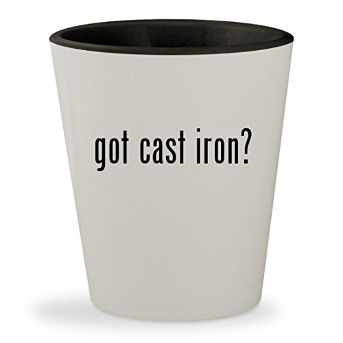 got cast iron? - White Outer & Black Inner Ceramic 1.5oz Shot Glass