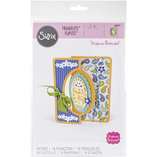 (Sizzix 660715 Framelits Die Set Card, Scallop Oval Flip-Its, 18/Pack)
