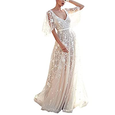OWMEOT Women's Bohemian Wedding Dresses Lace Bridal Gown Backless ? Short Sleeve V Neck Lace Beach Wedding Gowns
