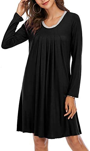 Topee Womens Nightgowns Cotton,Sleepwear for Women Long Sleeve V Neck Loose Comfy Nightdress Loungewear