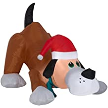 Easy Set-Up Airblown Self Inflatable Energy-Efficient Christmas Playful Puppy Dog with Santa Hat, 2.5 Tall (1)