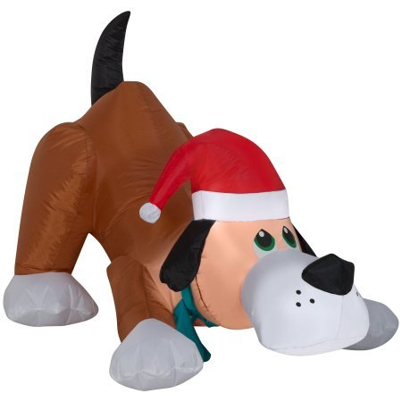 Dog Christmas Decorations - Airblown Inflatable Playful Puppy Dog wIth Santa Hat by Gemmy