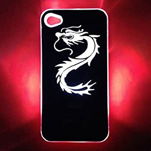 JOE Chinese Dragon Pattern Cool Sense LED Flash Light Color Changing Hard Case for iPhone 4/4S , Black